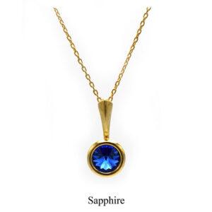 September birthstone. Gold Drop pendant necklace with a Sapphire Swarovski crystal. Retha Designs