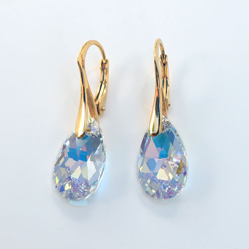 24K Gold plated silver earrings with small clear Pear shaped Swarovski crystals. Retha Designs