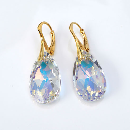24K Gold plated silver earrings with large clear Pear shaped Swarovski crystals. Retha Designs