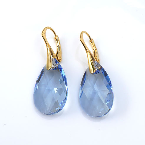 Gold plated silver earrings with large Light Sapphire Teardrop Swarovski crystals. Retha Designs