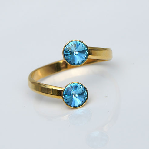 Gold plated Silver Adjustable ring made with Aquamarine Swarovski® crystals. March birthstone.