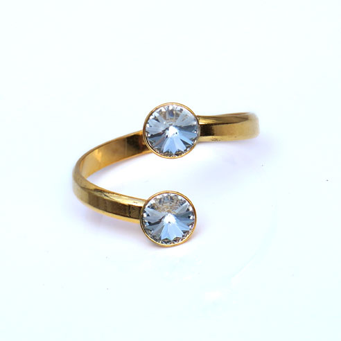 Gold plated Silver Adjustable ring made with Clear Swarovski® crystals. April birthstone.