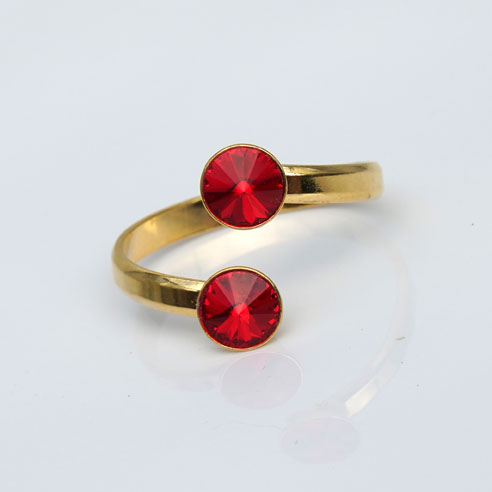 Gold plated Silver Adjustable ring made with Red Swarovski® crystals. July birthstone.