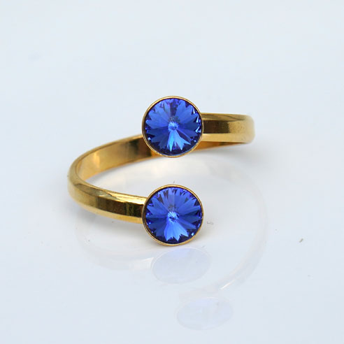 Gold plated Silver Adjustable ring - Sapphire Swarovski® crystals. September birthstone.