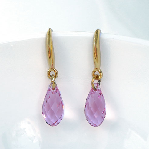 Gold plated silver earrings with Pink drop shaped Swarovski crystals.