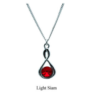 Silver Infinity necklace with a Ruby Red Swarovski crystal. July birthstone. Retha Designs