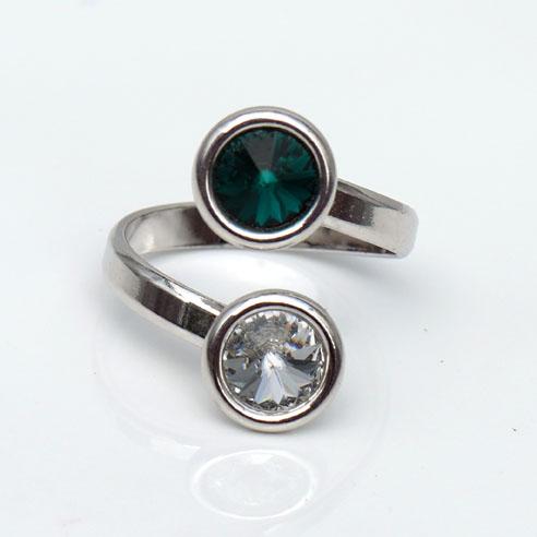 Rhodium plated Silver Adjustable ring -Emerald & Clear Swarovski® crystals. May birthstone.