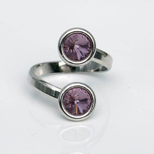 Rhodium plated Silver Adjustable ring -Light Amythyst Swarovski® crystals. June birthstone.