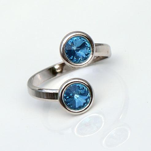 Rhodium plated Silver Adjustable ring -Aquamarine Swarovski® crystals. March birthstone.