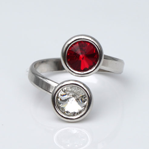 Rhodium plated Silver Adjustable ring -Red & Clear Swarovski® crystals. July birthstone.