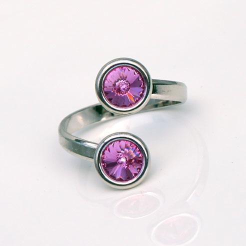 Rhodium plated Silver Adjustable ring -Rose pink Swarovski® crystals. October birthstone.