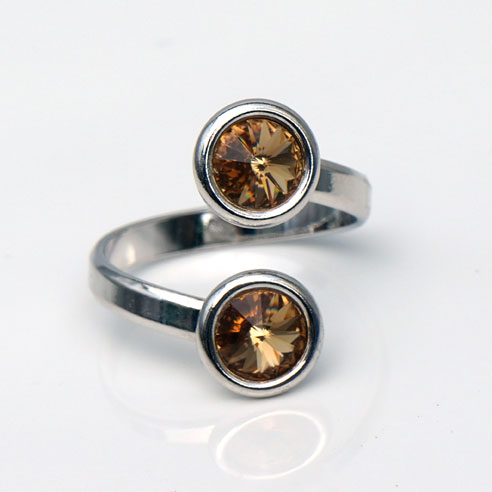 Rhodium plated Silver Adjustable ring -Topaz Swarovski® crystals. November birthstone.