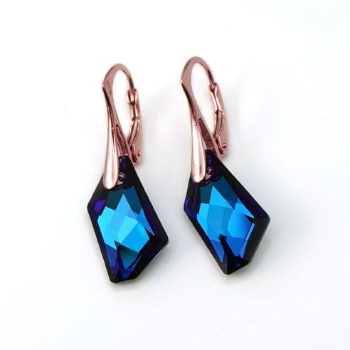 Rose Gold plated Silver Leverback earrings -Bermuda Blue angular Swarovski crystals. Retha Designs