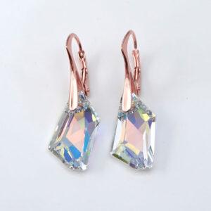 Rose Gold plated Silver Leverback earrings -Crystal AB angular Swarovski crystals. Retha Designs