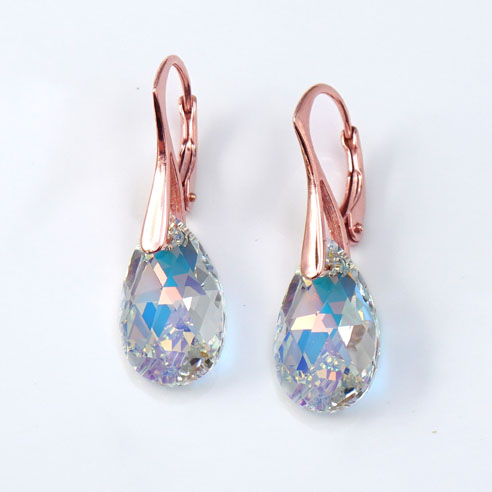 Rose Gold plated silver earrings with small clear Teardrop Swarovski crystals. Retha Designs
