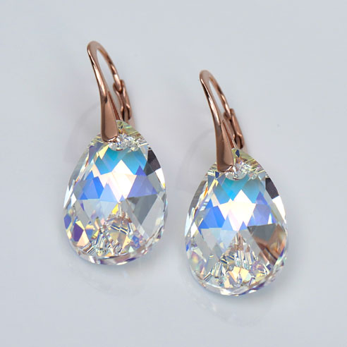 Rose Gold plated silver earrings with large clear Teardrop Swarovski crystals. Retha Designs