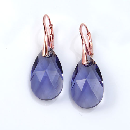Rose Gold plated silver earrings -large Tanzanite Pear shaped Swarovski crystals. Retha Designs
