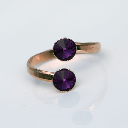 Rose Gold plated Silver Adjustable ring made with Amethyst Swarovski® crystals. February birthstone.