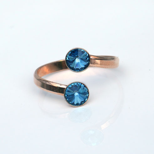 Rose Gold plated Silver Adjustable ring made with Aquamarine Swarovski® crystals. March birthstone.