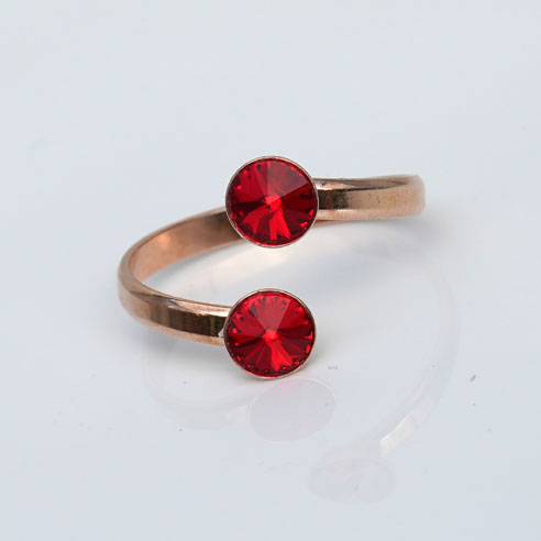 Rose Gold plated Silver Adjustable ring made with Red Swarovski® crystals. July birthstone.