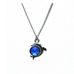 White Rhodium plated Sterling silver necklace with a Dolphin pendant created with a Sapphire coloured Swarovski crystal. September birthstone. Retha Designs