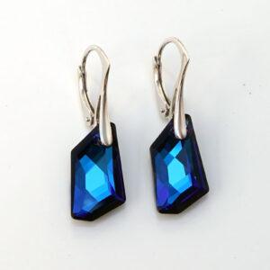 Rhodium plated Silver Leverback earrings -Bermuda Blue angular Swarovski crystals. Retha Designs