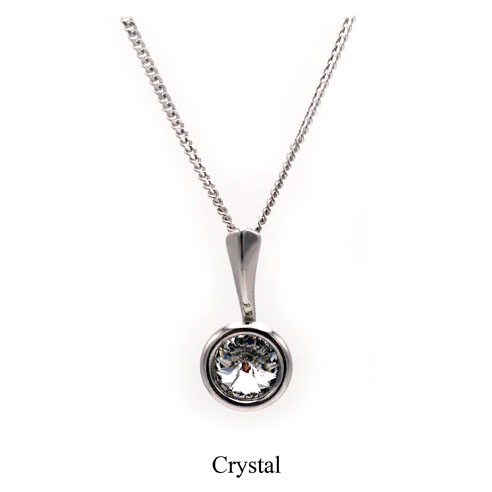 April birthstone. Silver Drop pendant necklace with a Clear Swarovski crystal. Retha Designs