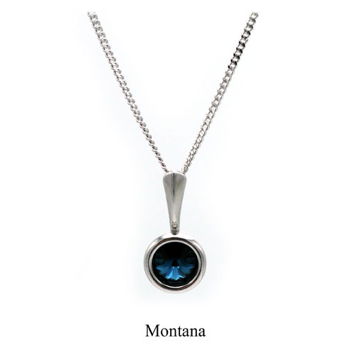 December birthstone. Silver Drop pendant necklace with a Montana Swarovski crystal. Retha Designs