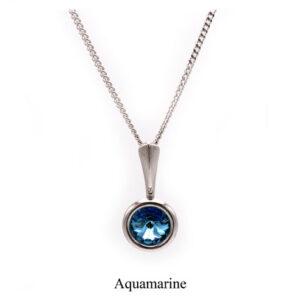 March birthstone. Silver Drop pendant necklace with an Aquamarine Swarovski crystal. Retha Designs