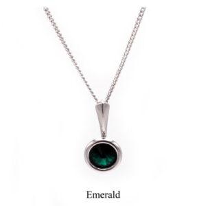 May birthstone. Silver Drop pendant necklace with an Emerald green Swarovski crystal. Retha Designs