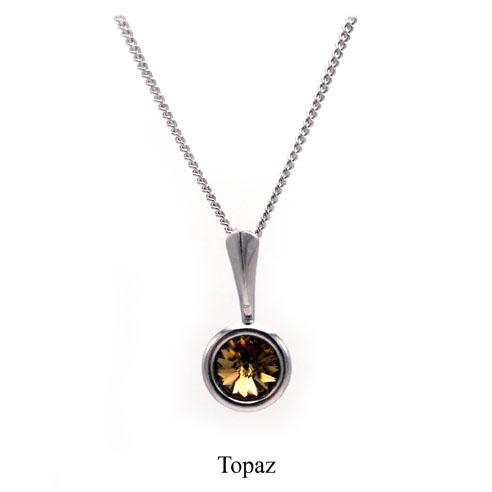 November birthstone. Silver Drop pendant necklace with a Topaz Swarovski crystal. Retha Designs