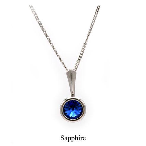 September birthstone. Silver Drop pendant necklace with a Sapphire Swarovski crystal. Retha Designs