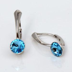 Rhodium plated Silver Leverback earrings -round Aquamarine Swarovski® crystals-March birthstone