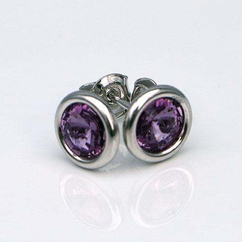 White Rhodium Plated .925 Silver stud earrings crafted with Amethyst Swarovski® crystal. February birthstone jewellery.
