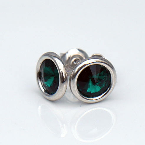 White Rhodium Plated.925 Silver stud earrings crafted with Emerald Green Swarovski® crystal. May birthstone jewellery. Retha Designs