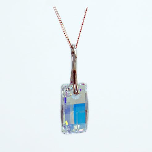 24k Gold plated Sterling silver Urban necklace-Crystal AB Swarovski crystal. Retha Designs.
