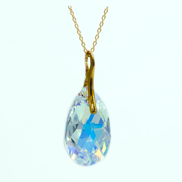 24K Gold plated Silver necklace-Large Crystal AB Pear shaped Swarovski crystal