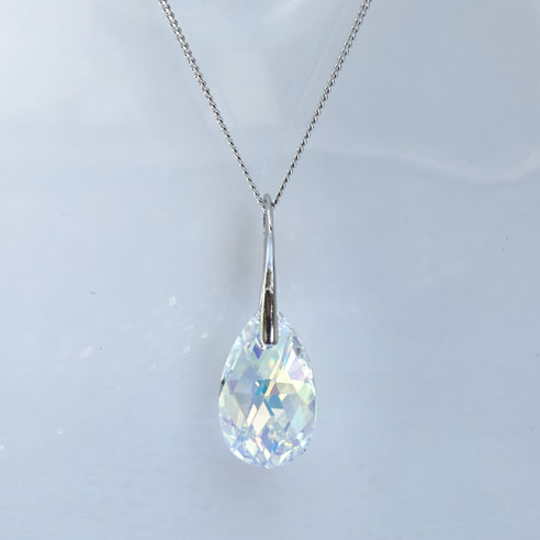 Rhodium plated Silver necklace-Large Crystal AB Pear shaped Swarovski crystal