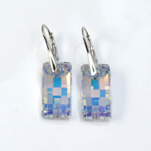 Rhodium plated Silver Leverback earrings with Crystal AB Urban Swarovski® crystals-Retha Designs.