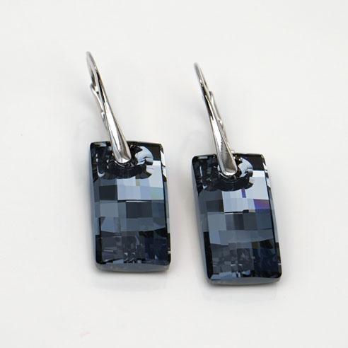 Rhodium plated Silver Leverback earrings - Silver Night Urban Swarovski® crystals-Retha Designs.