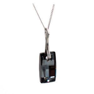 Rhodium plated Sterling silver Urban pendant necklace-Silver Night Swarovski crystal. Retha Designs.