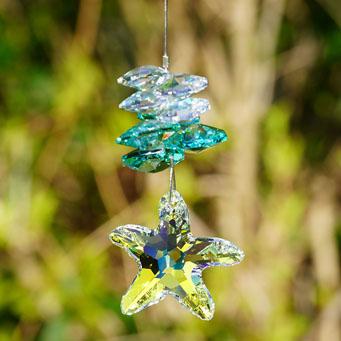 Starfish Cluster Suncatcher made with Swarovski crystals. Retha Designs.