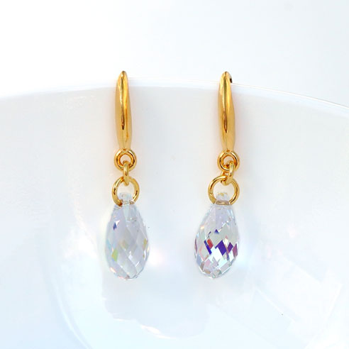 Gold plated silver Briolette earrings-Crystal AB Swarovski crystals.